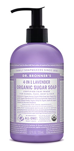 (Dr. Bronner's Organic Lavender Sugar Soap. 4-in-1 Organic Pump Soap for Home and Body (12 oz).)