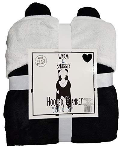 - Warm & Snuggly Hooded Super Soft Fleece Luxury Blanket Throw Lightweight Cozy Plush Microfiber 50x60 (Panda)