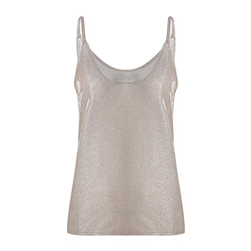 Aunimeifly Womens Paillette-Embellished V Neck Camisole Strappy Glitter Vest Ladies Sexy Vogue Loose Sparkle Tank Tops Gold