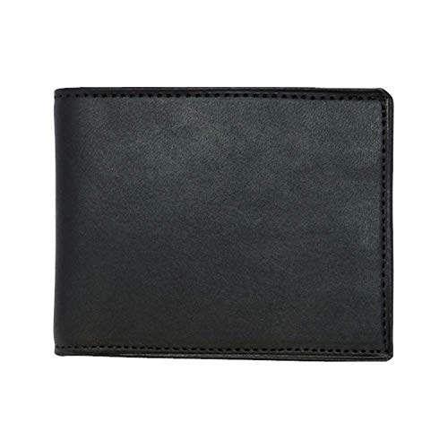 Black Genuine English Bridle Leather Bifold Wallet - RFID Blocking - American Factory Direct - Slim Fold Money Holder - Made in the USA by Real Leather Creations FBA540