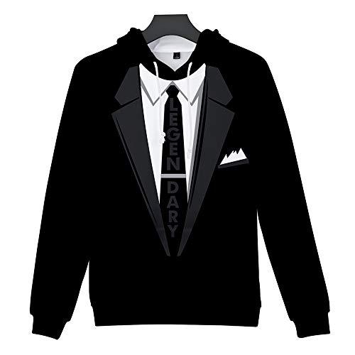 Tux Sweatshirt - VOSTE Tie Printed Suit Men's Hoodie Tux Bachelor Party Wedding Groom Sweatshirt (Medium, Black)