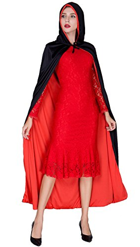 Dark Red Riding Hood (Womens Full-Length Crushed Cape Party Dress Little Red Riding Hood Cape Dress-up)