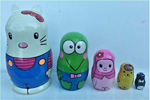 Hand-painted in Russia. Hello Kitty Russian nesting Doll Set of 5 piece
