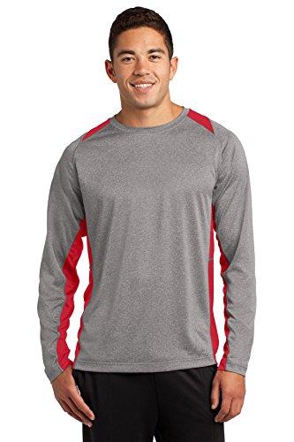 Sport-Tek Men's Long Sleeve Heather Colorblock XXL Vintage Heather/True Red Athletic Vintage Sport Shirt