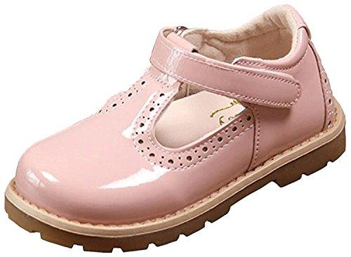 DADAWEN Girl's T-Strap School Uniform Dress Shoe Mary Jane Princess Flat Pink US Size 6.5 M Toddler from DADAWEN