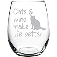 Cats & wine make life better stemless wine glass