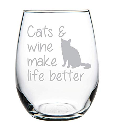Cats & wine make life better stemless wine glass