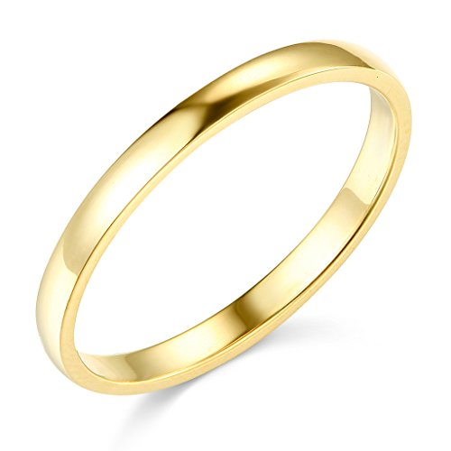14k Yellow Gold 2mm SOLID COMFORT FIT Plain Wedding Band - Size 5.5 by TWJC