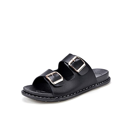Sandals Nappa Leather Breathable Open Toe Sandal Non-Slip Adjustable Summer Beach Wear Slippers(Black-39/8.5 B(M) US Women) (Nappa Platform)