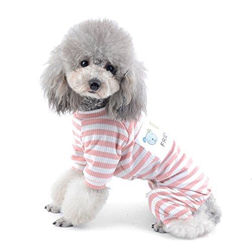 Armoire Cotton (SELMAI Stripe Pajamas for Small Dog Pet Cotton Jumpsuit Doggie Outfits Yorkie Shih Tzu Puppy Clothes Pink XXL)