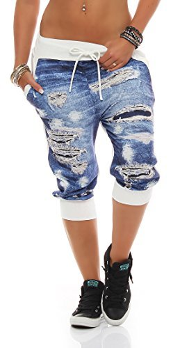 ZARMEXX pantalones capri damas Jogpants Jeans-pantalones de deporte de impresión de aspecto usado pantalones de jogging Summer Un tamaño Blanco