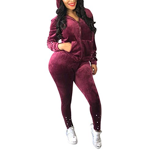 Sexy Club Outfits Velvet Beaded Zip Up Jackets + Bodycon Jumpsuit Set Black S