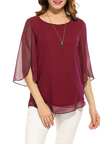 ACEVOG Women's Casual Chiffon Blouse Scoop Neck 3/4 Sleeve Top Shirts (Wine Red, Medium) from ACEVOG