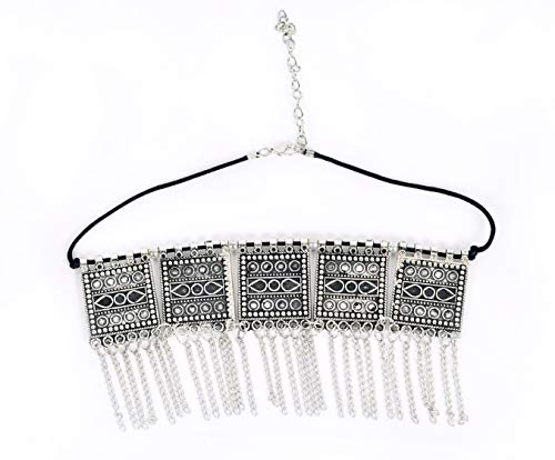 DecorTales Indian Boho Oxidized Square Tassel Choker, used for sale  Delivered anywhere in USA