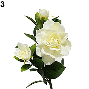 hwangli 1Pc 3 Heads Fashion Artificial Gardenia Flower Wedding Party Bouquet Home Decor Milk White