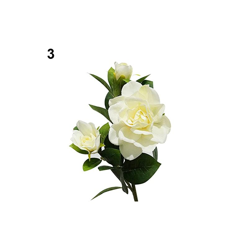 silk flower arrangements hwangli 1pc 3 heads fashion artificial gardenia flower wedding party bouquet home decor milk white