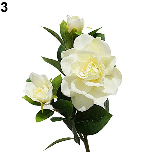 litymitzromq Artificial Flowers Fake Plants, 1Pc 3 Pcs Fashion Artificial Gardenia Flower Wedding Party Bouquet Home Decor Faux Fake Flowers Floral Arrangement