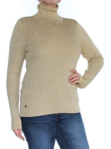 Metallic Knit Turtleneck - LAUREN RALPH LAUREN Womens Metallic Knit Turtleneck Sweater Gold XL