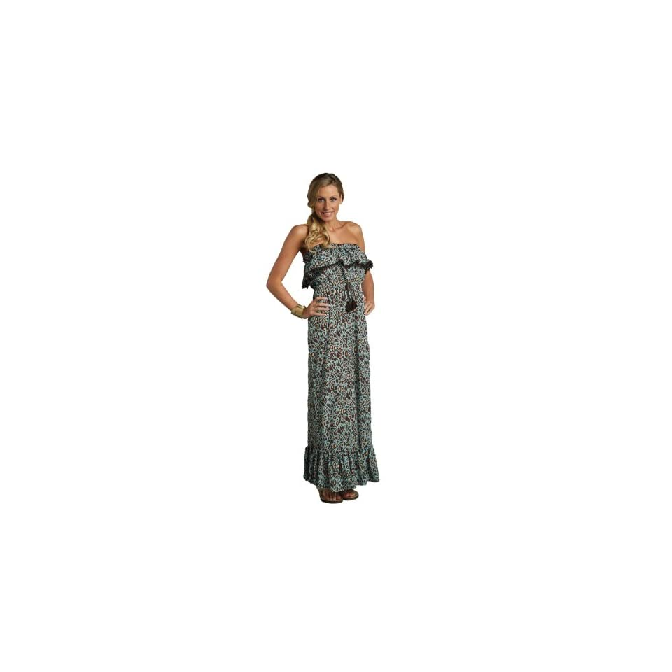 Mud Pie Leopard Print Strapless Maxi Dress   Size XL