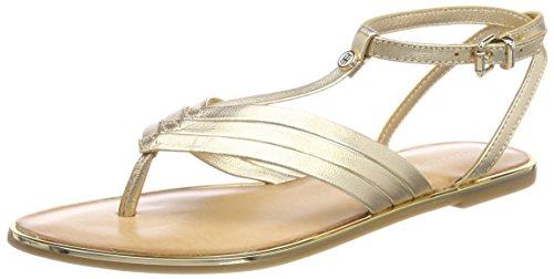 Mekong Salomés Metallic Femme Hilfiger Flat Or T Sandal 709 Bar Tommy gUzww