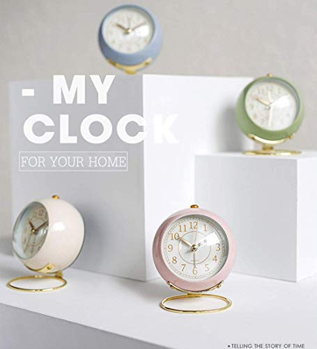 JUSTUP Small Table Clocks, Classic Non-Ticking Tabletop Alarm Clock Battery Operated Desk Clock with Backlight HD Glass for Bedroom Living Room Kitchen Indoor Decor (White) - UNIQUE STYLING DESIGN: Size:4.1*3.3*3 inch. Metallic iron look, well made, gold Arabic numbers, an awesome clear and simple style With metal base, looks conspicuous in your nightstand. SILENT: Non-ticking, quiet and smooth sweeping quartz movement and second hand, ensure a good sleep and best working environment. EASY TO USE: Easy to set the alarm and time on back of the clock. Number dial which is easy to read and button for backlight, simply press the button when staying in bed, time will be clearly visible at night. - clocks, bedroom-decor, bedroom - 41tqEb7Tw8L -