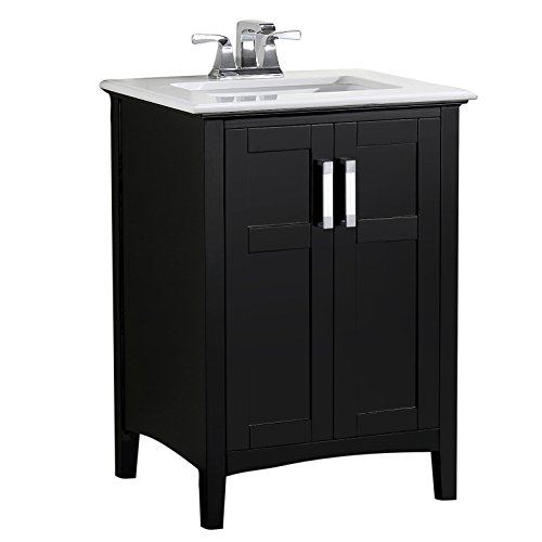 Simpli Home NL-WINSTON-BL-24-2A Winston 24 inch Contemporary Bath Vanity in Black with Bombay White Engineered Quartz Marble Top