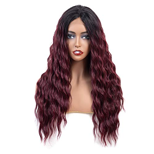 y Wavy Kanekalon Futura Synthetic Hair Lace Front Wig Dark Root Ombre With Heat Resistant Fiber for Black Women (Ombre Wine Red) ()