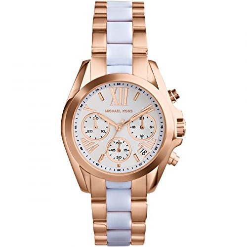 Michael Kors Women's Safari Chic Mini Bradshaw Watch, Rose Gold/White, One - And Gold Rose White Fossil Watch