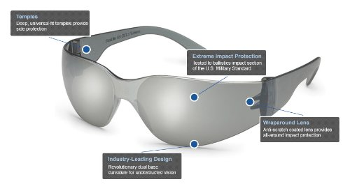 Gateway Safety 468M UL-Certified StarLite Safety Glasses, Silver Mirror Lens, Gray Temple (Pack of 10)