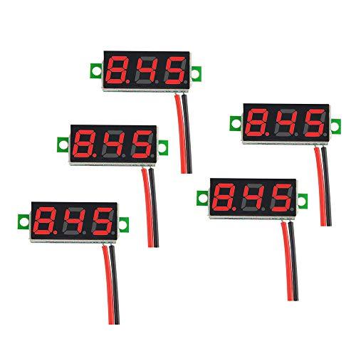 WINGONEER 5Pcs Mini Digital DC Voltmeter 0.28 Inch Two-Wire 2.5V-30V Mini Digital DC Voltmeter Voltage Tester Meter - Red