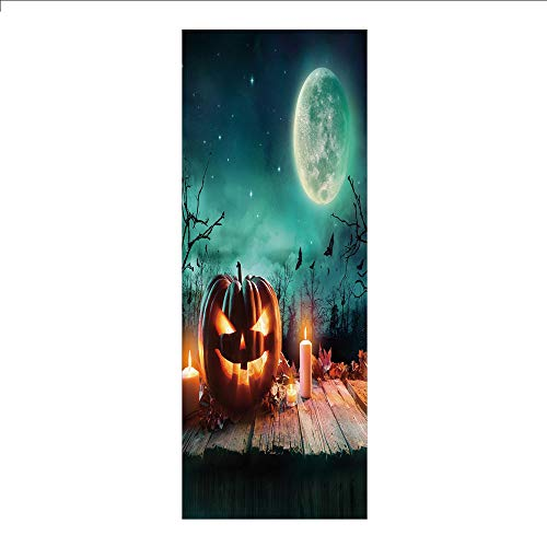 3D Decorative Film Privacy Window Film No Glue,Halloween,Fantastic Magic Night Spooky Atmosphere Candles Pumpkin on Wooden Planks Print,Multicolor,for Home&Office ()