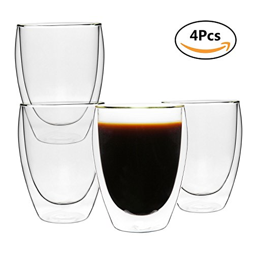 Rachel's Pick 350ml/12 oz. Double Wall Insulated Glass Coffee mugs or Tea Cups, Pack of 4