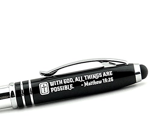 Matthew 19:26 Engraved Pen Light with Stylus -With God, All Things are Possible. - Christian Gifts Ideas for Men Women Pastors Ministers