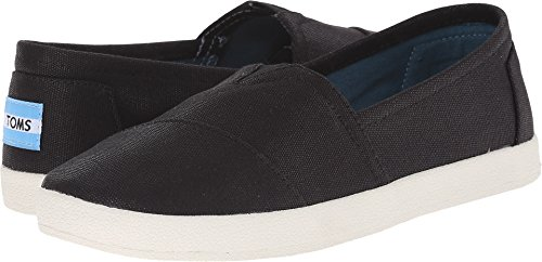 - TOMS Women's 10006322 Black Coated Canvas Avalon' Fashion Sneaker, 5.5 M US