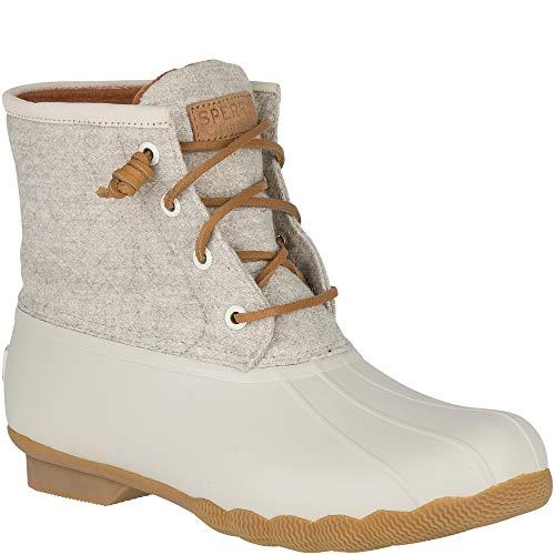 SPERRY Women's Saltwater Emboss Wool Rain Boot Off White 6.5 M US