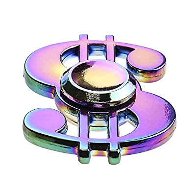 FIDGET DICE Fidget Hand Spinners EDC Spinner Toy Stress Reducer for Anxiety Focusing ADHD, Steel Ball Bearing, Dollar Sign,Rainbow: Toys & Games