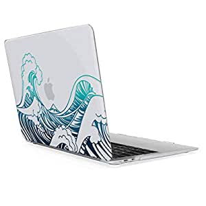 "kwmobile Crystal Case Cover for Apple MacBook Air 13"" Retina (ab Ende 2018) with Waves Transparent Laptop Protective case in Blue/Dark Blue/Transparent"