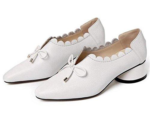 35to39 Pelle Fiori Bowknot Collare toemocassini Donna Taglia Vera Da Di White Piatto Closed Scarpe q7US6W