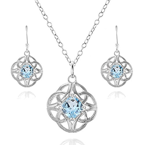 Sterling Silver Blue Topaz Cushion-Cut Celtic Knot Pendant Necklace and Dangle Earrings Set ()