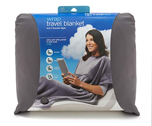 Check Out This Travelrest 4-in-1Travel Blanket - Plush Poncho Style with Zippered Pocket - Soft & Lu...