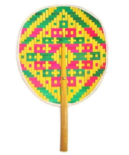 Asian Art Thai Weave Pattern Bamboo Wooden Craft Hand Handle Fan Collectibles