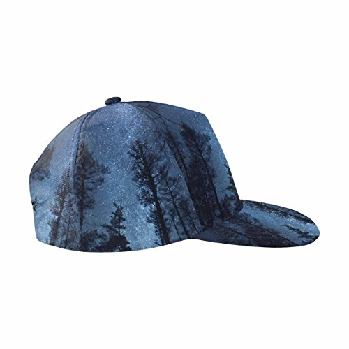 InterestPrint Beautiful Night Sky, The Milky Way and The Trees Flat Bill Hip Hop Snapback Baseball Cap (Milky Flat Way)
