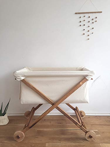 Koota baby Bassinet Entirely of Oak Wood and Eco-Cotton/Wool Stuffed Mattress Included