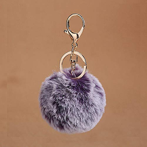 Pompom Fluffy Keychain Faux Rabbit Fur Women Bag Car Pendant Key Ring Jewelry | Color - Purple