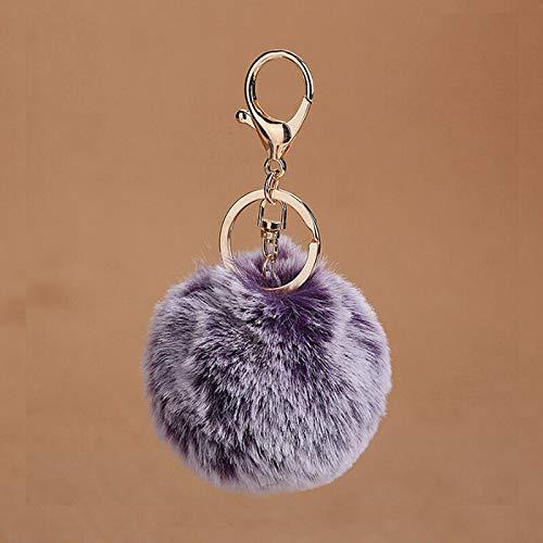 (Pompom Fluffy Keychain Faux Rabbit Fur Women Bag Car Pendant Key Ring Jewelry (Color - Purple))