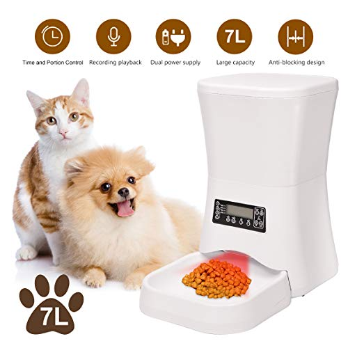 Iseebiz 7L Automatic Pet Feeder, Dogs Cats Food Dispenser 4 Meals a Day with Voice Record Remind, Timer Programmable…