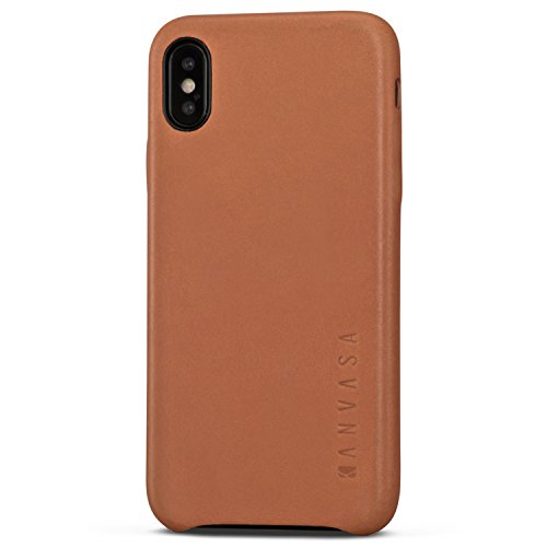 Case Faux Protector Leather (iPhone Xs Max Leather Case Brown - KANVASA Skin Back Cover for The Original Apple iPhone Xs Max / 10s Max - Luxury Pouch from Real Genuine Leather - Optimal Protection & Premium Leather - Ultra Thin)