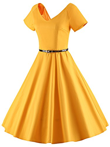 LUOUSE 40s 50s 60s Vestidos Vintage retro Cuello v Manga corta Audrey Hepburn Swing Rockabilly V026-Amarillo