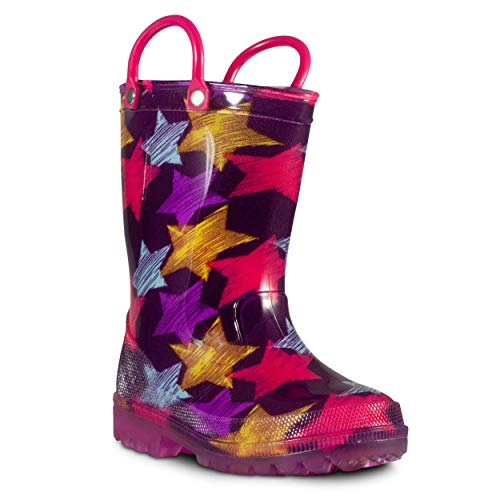 ZOOGS Children's Light Up Rain Boots for Little Kids & Toddlers, Boys & Girls - Wellies Plain