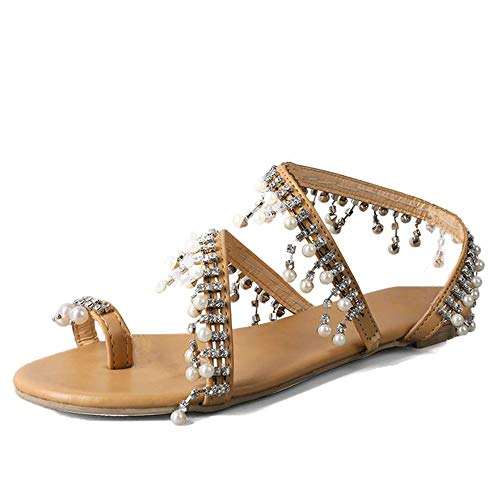 Xiakolaka Womens Sandals Flat,Beaded Toe Ring Casual Wedding Pearl Shoes Silver2 (Flats Beaded)
